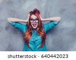 no way  really   shocked red... | Shutterstock . vector #640442023