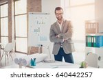 confident smiling architect in... | Shutterstock . vector #640442257