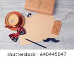 fathers day background with... | Shutterstock . vector #640445047