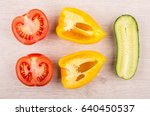 pieces of tomato  sweet pepper... | Shutterstock . vector #640450537