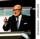 Small photo of Former Mayor of New York City Rudy Giuliani addresses the Republican National Nominating Convention in the Quicken Sports Arena Cleveland Ohio, July 18th, 2016.