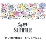 summer time horizontal banner.... | Shutterstock .eps vector #640474183