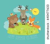 animals eating ice cream | Shutterstock .eps vector #640477633