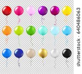 balloons big set gradient mesh  ... | Shutterstock .eps vector #640486063
