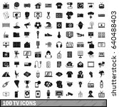 100 tv icons set in simple... | Shutterstock .eps vector #640488403