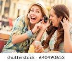 two beautiful young women... | Shutterstock . vector #640490653