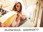 woman in shopping. happy woman... | Shutterstock . vector #640493977