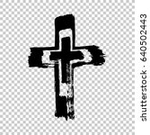 hand drawn cross. cross made... | Shutterstock .eps vector #640502443