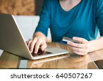 young woman making online... | Shutterstock . vector #640507267