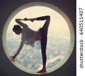 beautiful sporty fit yogi woman ... | Shutterstock . vector #640511407