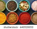 spices in colorful bowls viewed ... | Shutterstock . vector #640520053