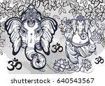 hindu lord ganesha over... | Shutterstock .eps vector #640543567