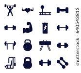bodybuilding icons set. set of... | Shutterstock .eps vector #640543813