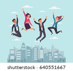young  happy business people... | Shutterstock .eps vector #640551667