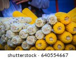 close up boiled corn on street...