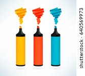 multicolored markers. vector... | Shutterstock .eps vector #640569973