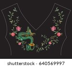 embroidery fashion ethnic neck... | Shutterstock .eps vector #640569997