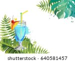 cocktails. summer tropical... | Shutterstock .eps vector #640581457