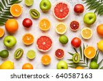 citrus fruits background mix... | Shutterstock . vector #640587163