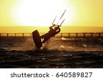 kiteboarder sportsman under...   Shutterstock . vector #640589827