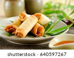 fried chinese spring rolls with ... | Shutterstock . vector #640597267