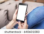 woman using phone with copy... | Shutterstock . vector #640601083