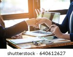 business people shaking hands ... | Shutterstock . vector #640612627