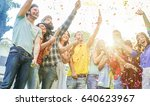 happy friends making party... | Shutterstock . vector #640623967