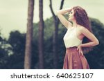 beautiful fashionable woman...   Shutterstock . vector #640625107