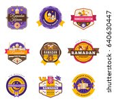 set of vintage ramadan kareem... | Shutterstock .eps vector #640630447