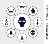 futuristic icons set. set of 9... | Shutterstock .eps vector #640638373