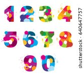 numbers painted by colorful... | Shutterstock . vector #640647757
