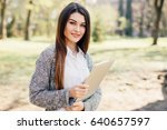 young woman using walking in... | Shutterstock . vector #640657597