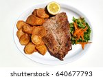 grilled steak with fried... | Shutterstock . vector #640677793