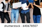 Small photo of Group of Diverse High School Students Using Digital Devices Studio Portrait