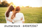 young women in white sweaters... | Shutterstock . vector #640692067