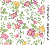 floral ornamental seamless... | Shutterstock .eps vector #640695697