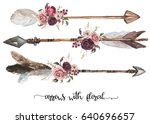watercolor ethnic boho set of... | Shutterstock . vector #640696657