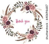 watercolor natural boho floral... | Shutterstock . vector #640696687