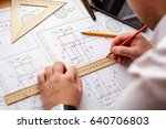 architect workplace  ... | Shutterstock . vector #640706803