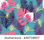 tropical big leaves and flowers ... | Shutterstock .eps vector #640718857