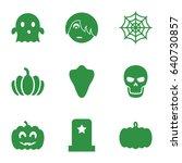halloween icons set. set of 9... | Shutterstock .eps vector #640730857