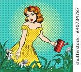 vector pop art illustration of... | Shutterstock .eps vector #640734787