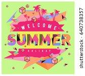 trendy vector summer cards... | Shutterstock .eps vector #640738357