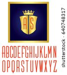 crown and shield logo vector... | Shutterstock .eps vector #640748317