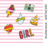 set of cute fashion patches... | Shutterstock .eps vector #640762183