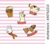 set of cartoon animal themed...   Shutterstock .eps vector #640762213