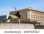 young man jumping over the wall.... | Shutterstock . vector #640765567