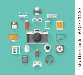 set of technology and... | Shutterstock .eps vector #640771537