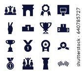 victory icons set. set of 16... | Shutterstock .eps vector #640785727